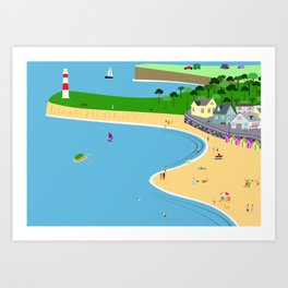 Lighthouse in a bay Art Print