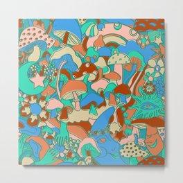 Magical Mushroom World in Mint + Maroon  Metal Print