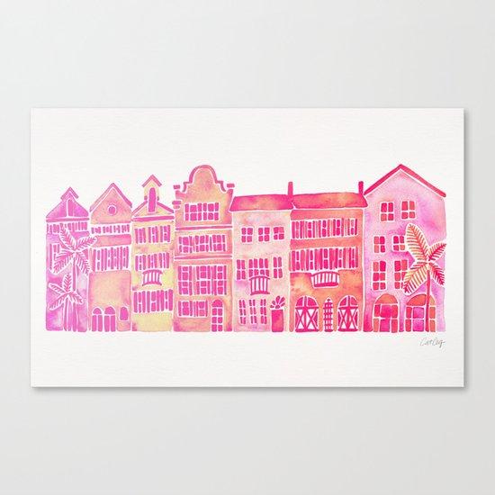 Tropical Homes – Pink Ombré Canvas Print