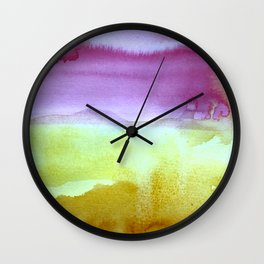 Abstract Watercolor Painting, Purples, Greens, Mustard Yellow Home Goods Wall Clock