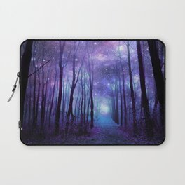 Fantasy Forest Path Icy Violet Blue Laptop Sleeve