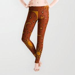 Vintage Sun and Star Print in Rust Leggings