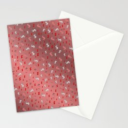 pink,silver,dollar, symbol in shiny metall textur Stationery Cards