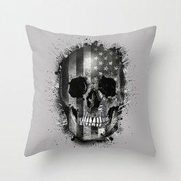 usa black and white skull Throw Pillow