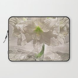 White Flowers Amaryllis Glowing Simple Modern Art Tan Background and Green Accents Laptop Sleeve