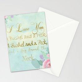 I Love You..Bushel & Peck-  Mint Watercolor  Stationery Cards