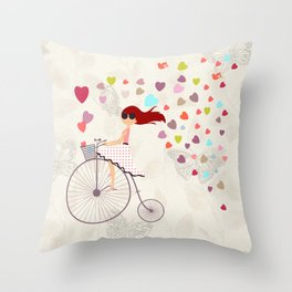 Red haired girl French polka dots dress riding retro bike bicycle backet full of hearts everywhere Throw Pillow