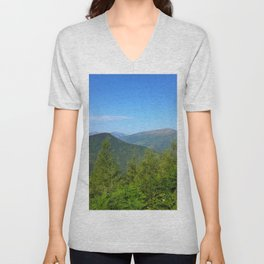 Mountain and trees Unisex V-Neck
