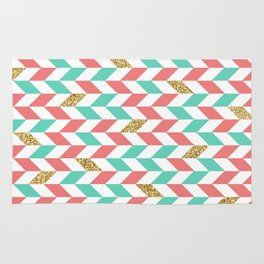 Mint Coral Gold Glitter Chevron Scatter Pattern Rug