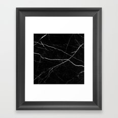 Black marble abstract texture pattern Framed Art Print