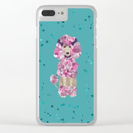 Fun Paint Splatter Poodle on Teal Clear iPhone Case