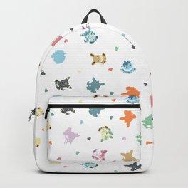 Pixel Eeveelutions and Hearts Pattern Backpack