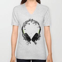 Art Headphones Unisex V-Neck