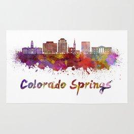 Colorado Springs V2 skyline in watercolor Rug