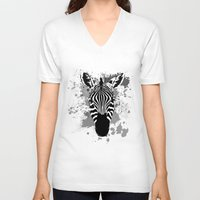 splatter V-neck T-shirts featuring Splatter Stripes by AdamAether