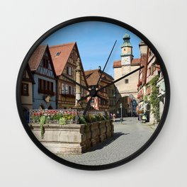 Bavaria Germany Tower Rothenburg Street Cities Building towers Houses Wall Clock