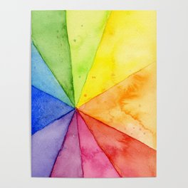 Abstract Colorful Geometric Design, Rainbow Beach Ball Pattern Poster
