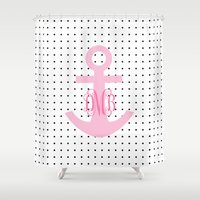 polkadot Shower Curtains featuring Polkadot Pink Anchor by KM Designs