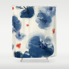 Blue Blooms with Coral Shower Curtain