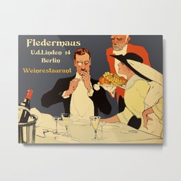 Berlin retro 1920 Plakatstil Fledermaus wine restaurant advertisement Metal Print