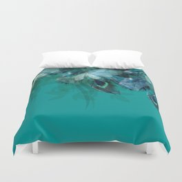 DREAMY FEATHERS & LEAVES - Deep Cyan Duvet Cover