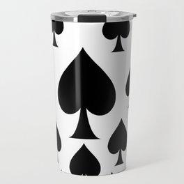 LOTS OF DECORATIVE BLACK SPADES CASINO ART Travel Mug