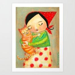 Babushka with Orange Kitty  Art Print