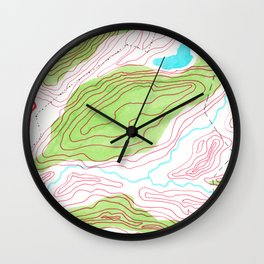 Let's go hiking - topographical map Wall Clock