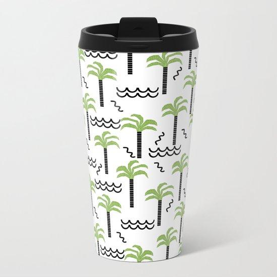 Palm trees tropical minimal ocean seaside socal beach life pattern Metal Travel Mug