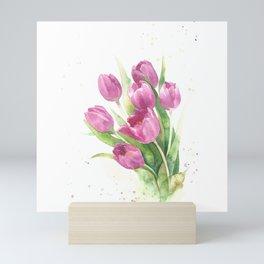 Watercolor bouquet of pink tulips Mini Art Print