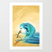 Mad little wave Art Print