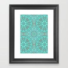 Mint Green & Grey Folk Art Pattern Framed Art Print