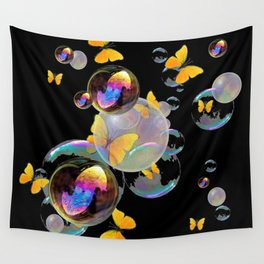 SURREAL GOLDEN YELLOW BUTTERFLIES  & SOAP BUBBLES Wall Tapestry