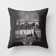 r u n (ANALOG zine) Throw Pillow