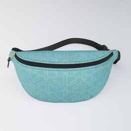 Beach Series Aqua - White Anchors on turquoise background Fanny Pack