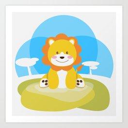 Lion in the savannah Art Print
