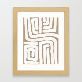 Tan and White Lines Abstract Print Framed Art Print