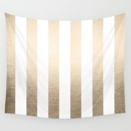 Simply Vertical Stripes in White Gold Sands Wall Tapestry