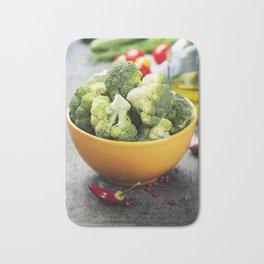 Fresh green broccoli and Healthy Organic Vegetables Bath Mat