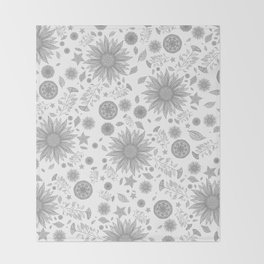 Beautiful Flowers in Faded Gray Black and White Vintage Floral Design Throw Blanket