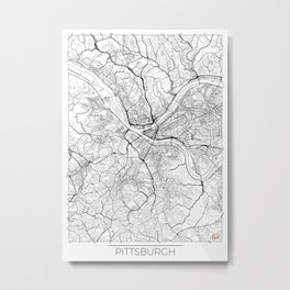 Pittsburgh Map White Metal Print