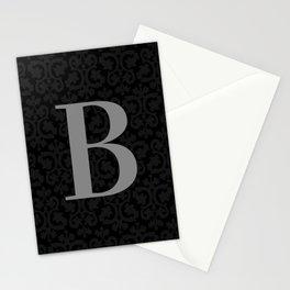 Modern Black Grey Damask Letter B Monogram Stationery Cards