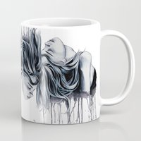cara delevingne Mugs featuring Cara Delevingne by Asquared2Art