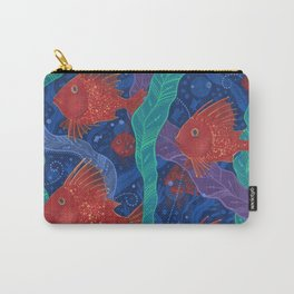 Scarlet Fish, Seaweed, Sea Ocean Animals Underwater World Carry-All Pouch
