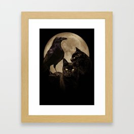 Moon, Raven and Black Cat Magick with Moon Framed Art Print