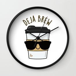 Deja-Brew Cute Coffee Pun Wall Clock