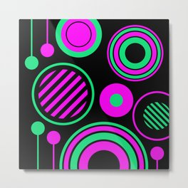 Retro Rings And Circles - Black, Purple And Green Metal Print