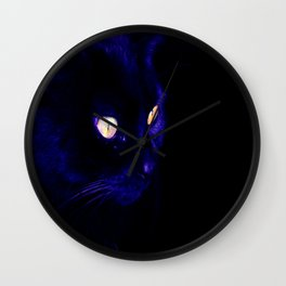 Black Cat Photograph, Halloween Eyes Wall Clock