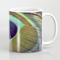 peacock feather Mugs featuring peacock feather by AnnaGo