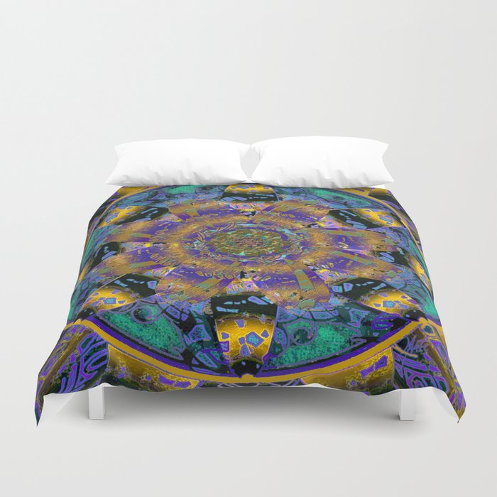 Purple Gold Dream Catcher Mandala Duvet Cover